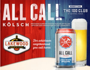 All Call Kolsch Beer - Supporting 100 Club of Central Texas