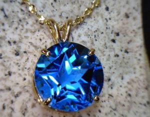 15mm blue topaz pendant in 14K gold on a 14K gold Italian chain